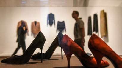 High heeled shoes on display at the Museum of Modern Art's exhibition called Items: Is Fashion Modern?