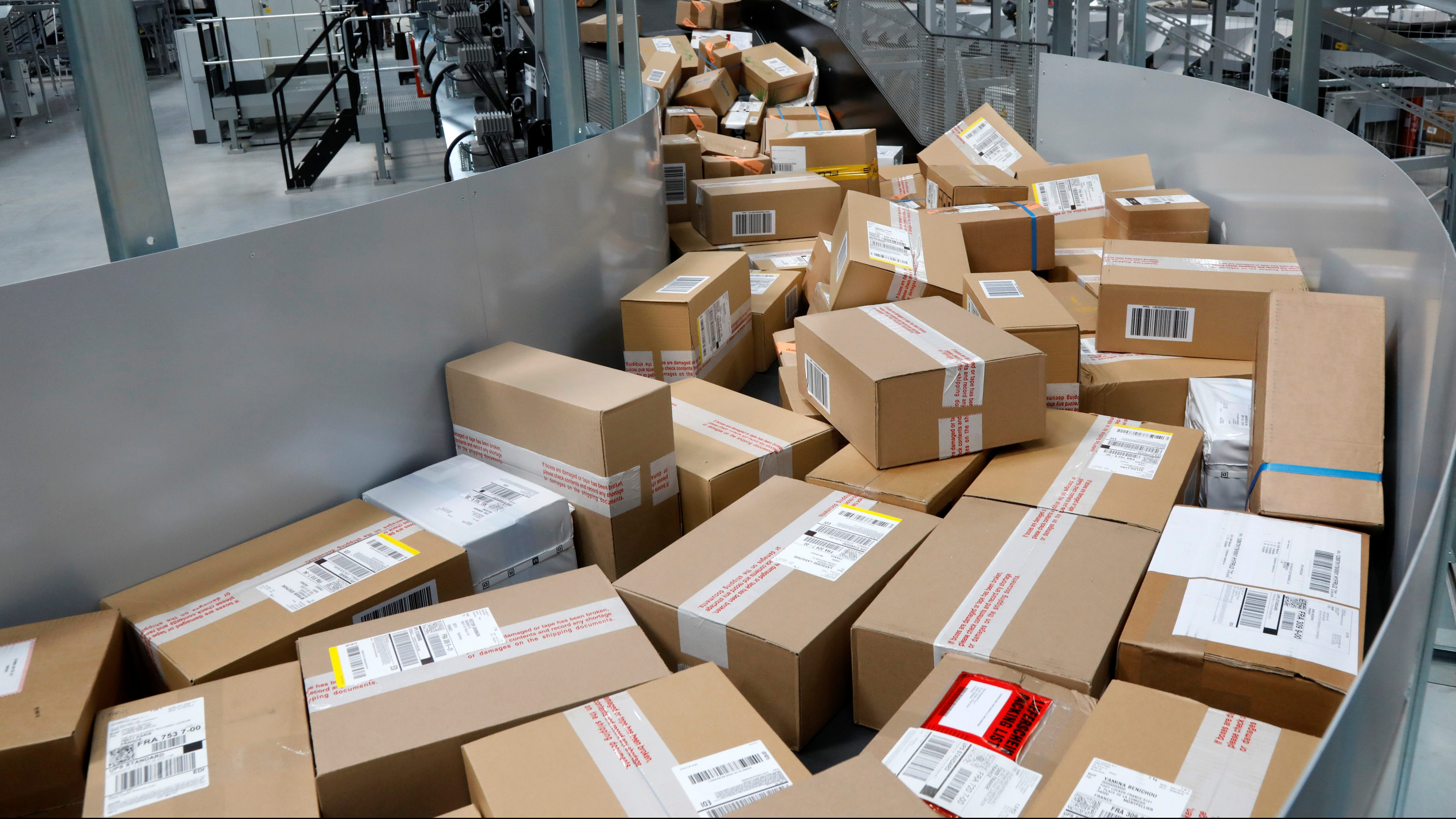 Packages are seen at the package sorting and delivery UPS (United Parcel Service) hub in Corbeil-Essonnes and Evry, southern Paris, France