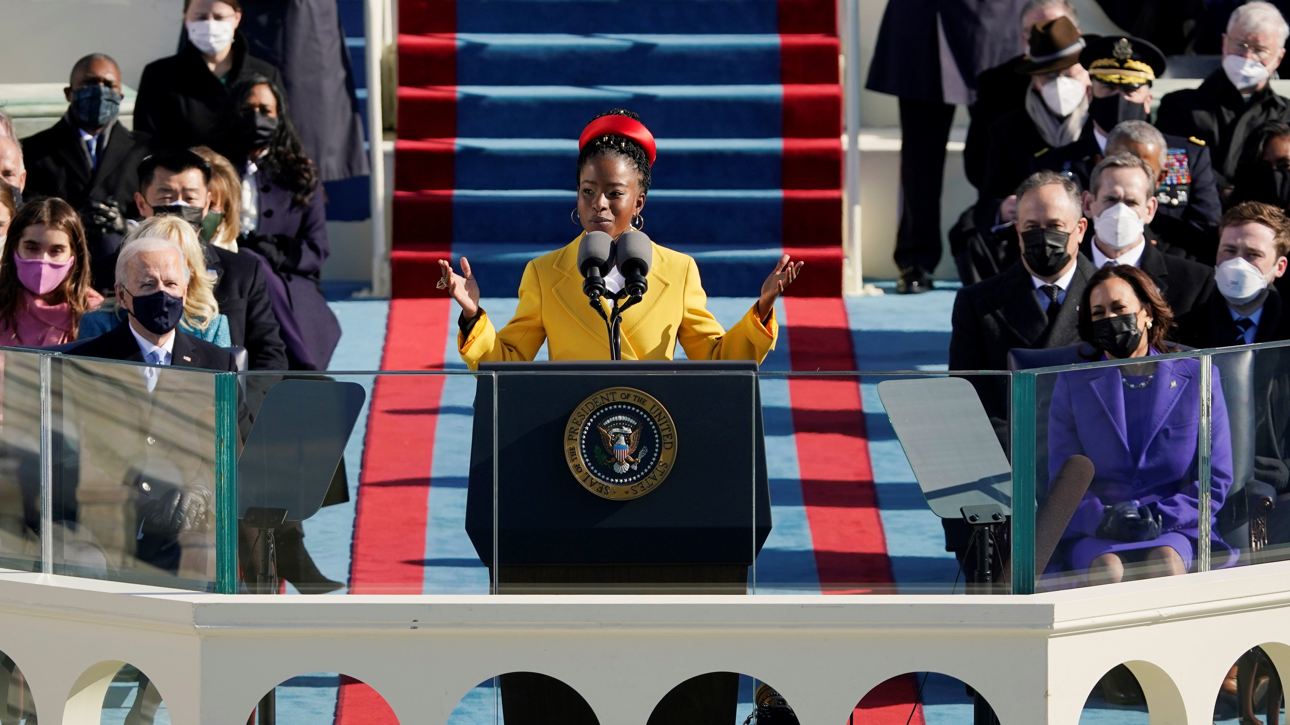 Poet Amanda Gorman reads a poem during the 59th Presidential Inauguration at the U.S. Capitol in Washington January 20, 2021.