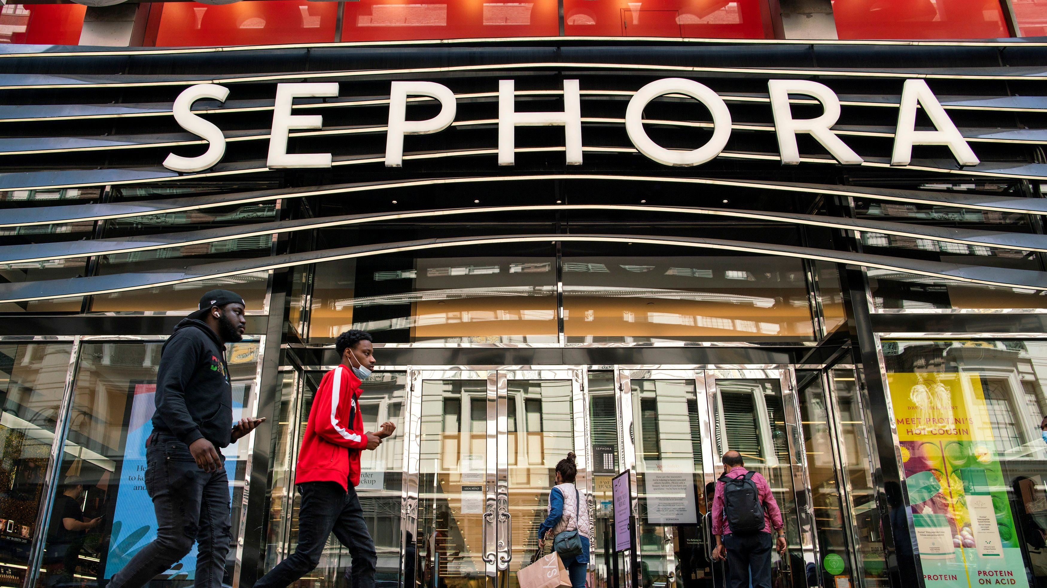 People enter a Sephora store in New York City, New York, U.S., May 20, 2021.