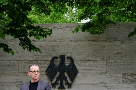 German foreign minister Heiko Maas gives a news conference in Berlin, Germany on May 28, after Germany recognized for the first time that it had committed genocide in Namibia during its colonial occupation.
