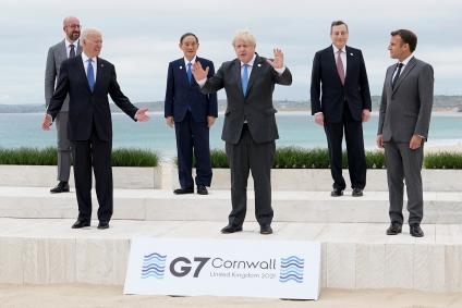 G7 leaders at their summit in Cornwall.