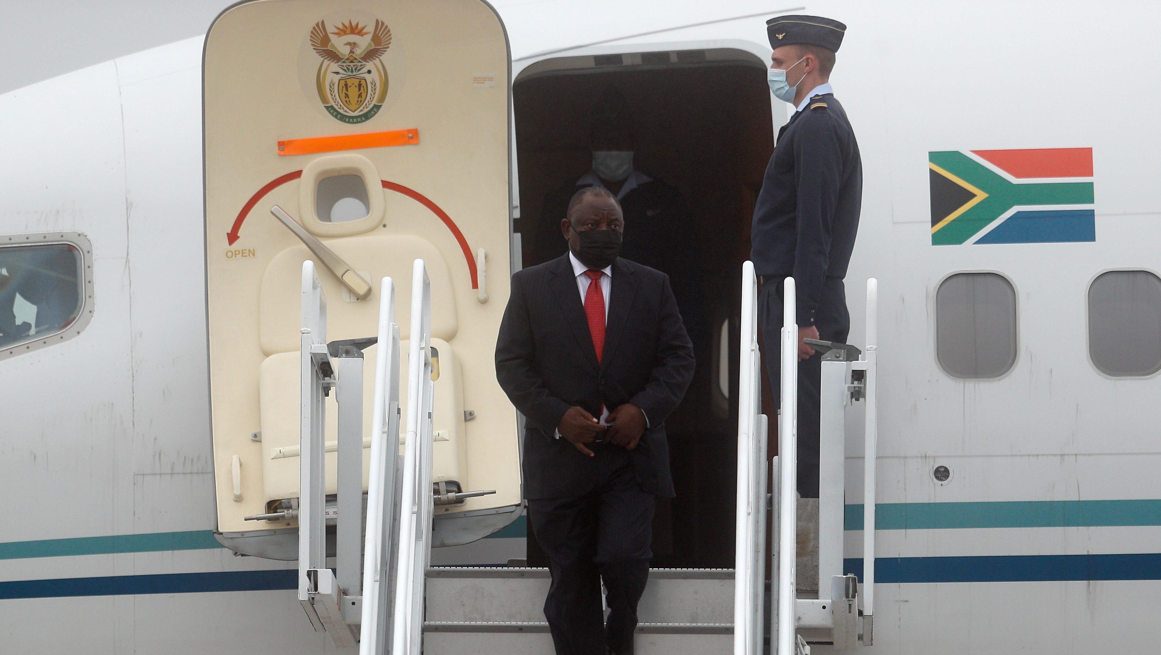 South Africa's President Cyril Ramaphosa arrives in Cornwall for the G7 summit on June 11.