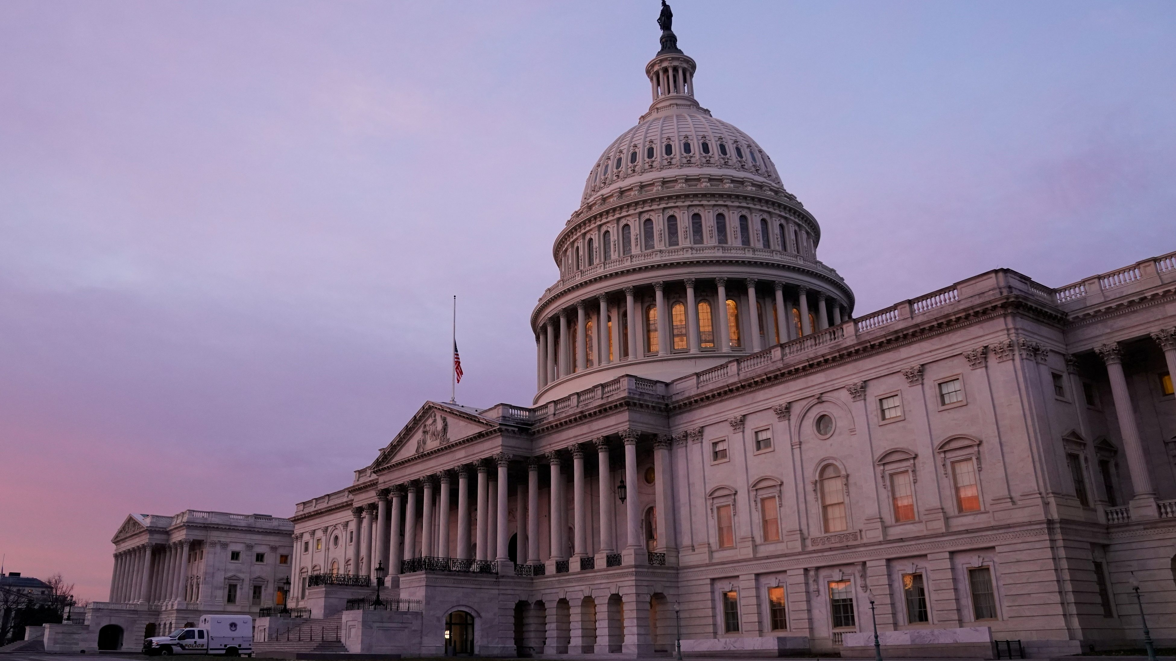 The U.S. Capitol is seen at sunrise.