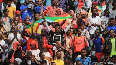 Supporters of Ethiopian Prime Minister Abiy Ahmed attend his last campaign event ahead of Ethiopia's parliamentary and regional elections, June 2021.