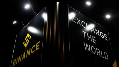 The Binance logo on an exhibition stand at the Delta Summit, Malta's official Blockchain and Digital Innovation event, in 2019
