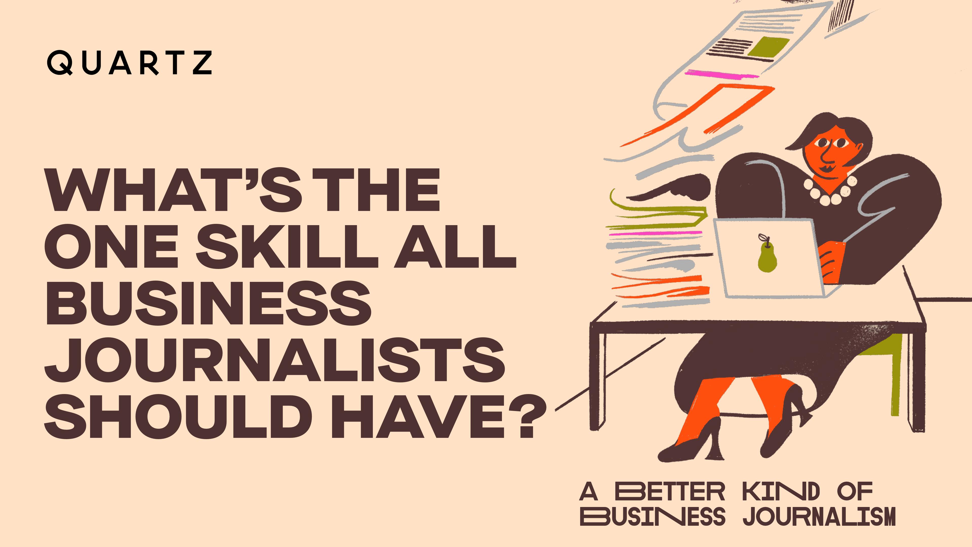 A poster for Quartz's business journalism webinar series.