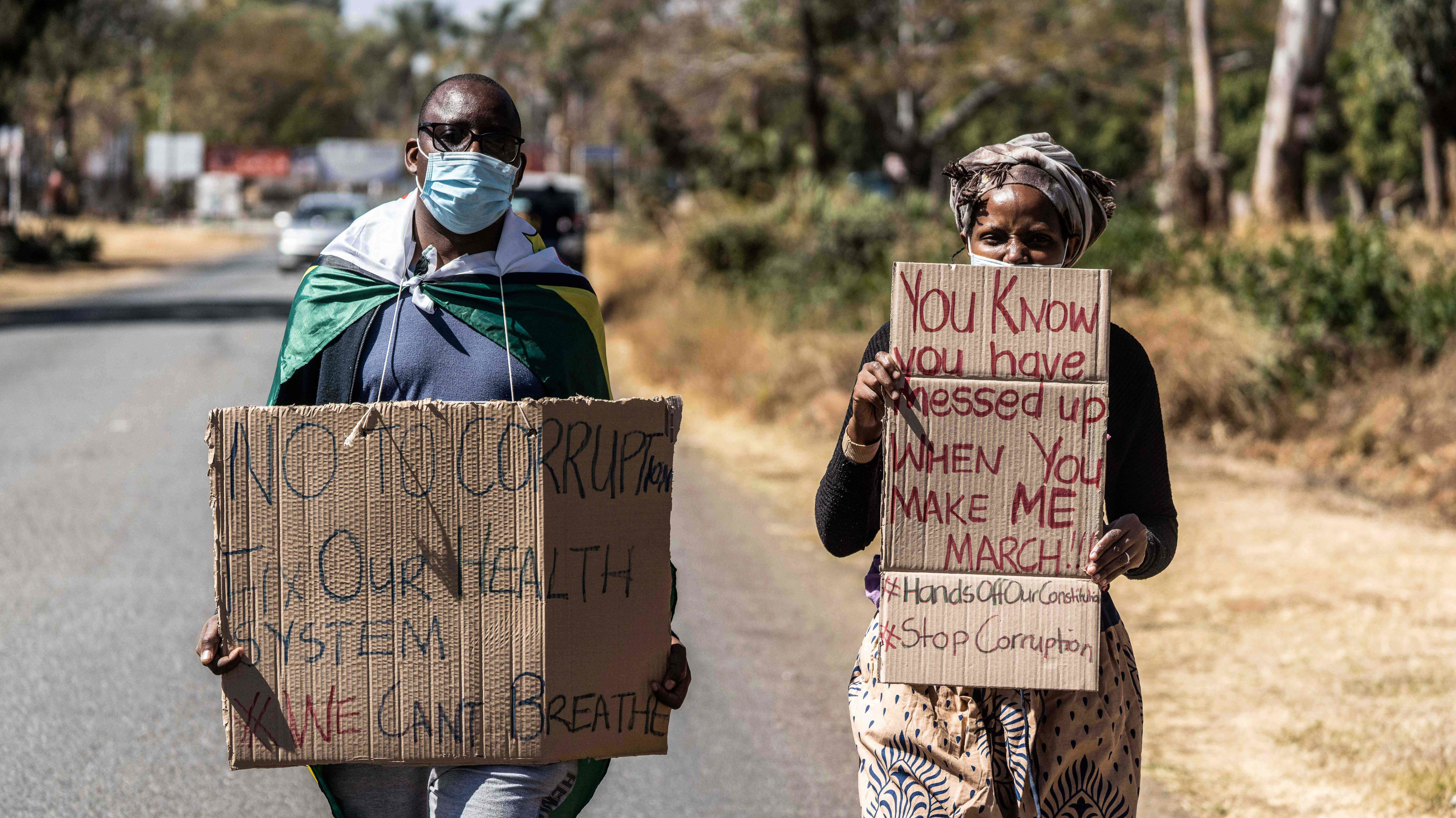 An anti-corruption protest march in Harare last July. The Black Lives Matter protest movement in the US reverberated through Zimbabwe last year, and continues to have impact.
