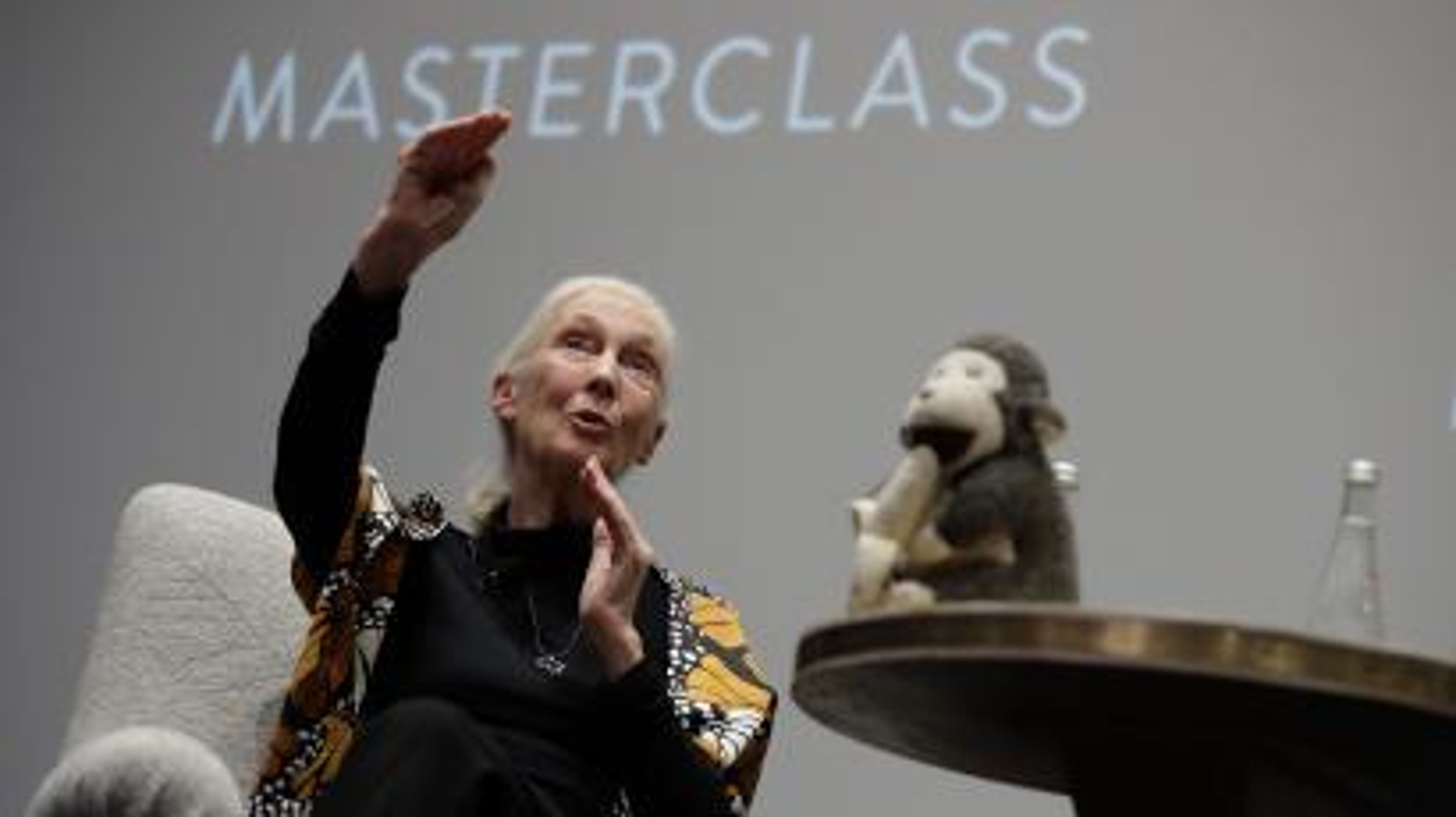 "Dr. Jane Goodall speaks during the ""Dr. Jane Goodall's MasterClass"" New York screening at the Whitby Hotel on September 12, 2017 in New York City."