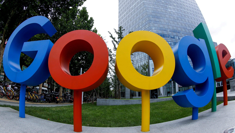 Google logo on signs outside office in Beijing