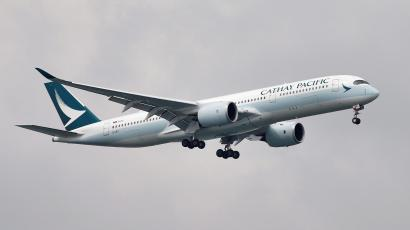 A Cathay Pacific Airways airplane in the sky