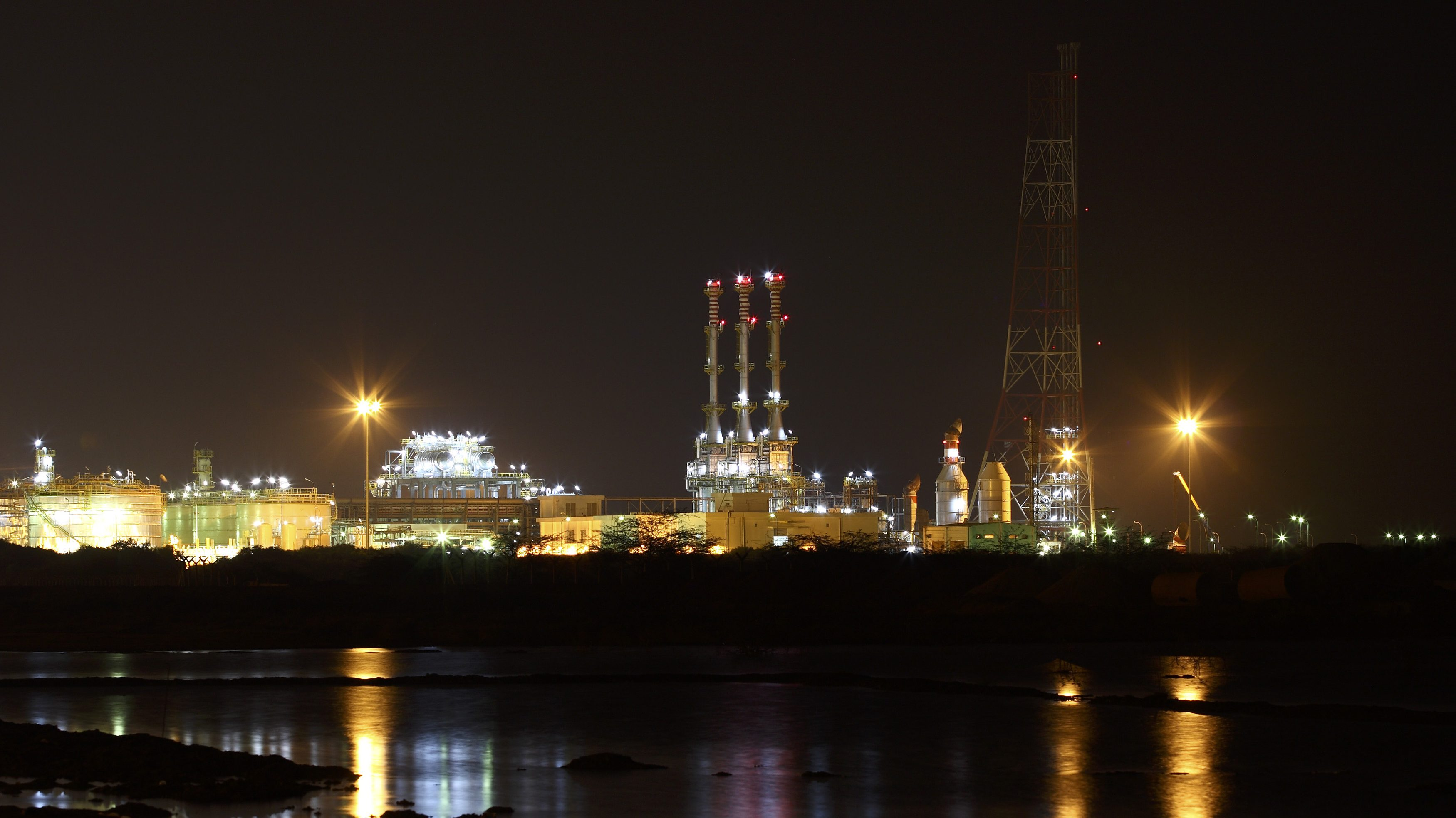 Reliance Industries KG-D6's oil production facility located in the Indian state of Andhra Pradesh