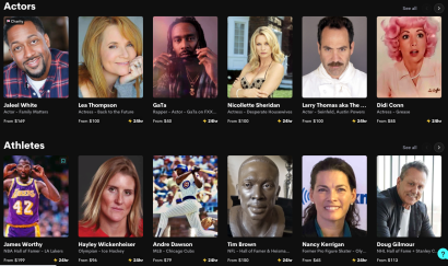 """A portion of a """"featured"""" grid from Cameo's homepage."""
