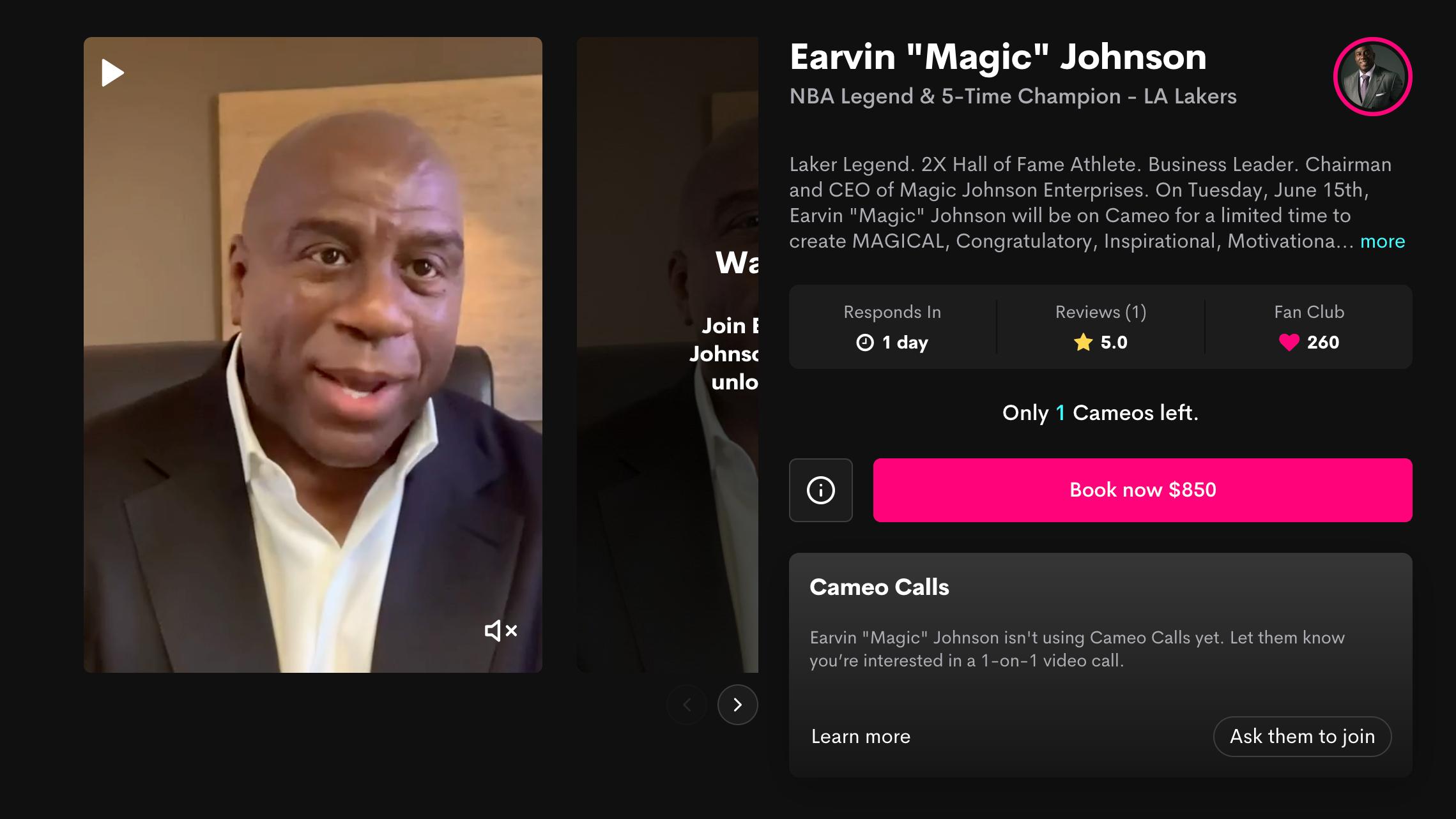 Magic Johnson's Cameo profile