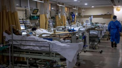 Patients suffering from the coronavirus disease (COVID-19) are seen inside the ICU ward at Holy Family Hospital in New Delhi