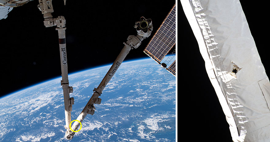 A 5 mm hole from a debris strike is visible on the International Space Station's robotic arm.