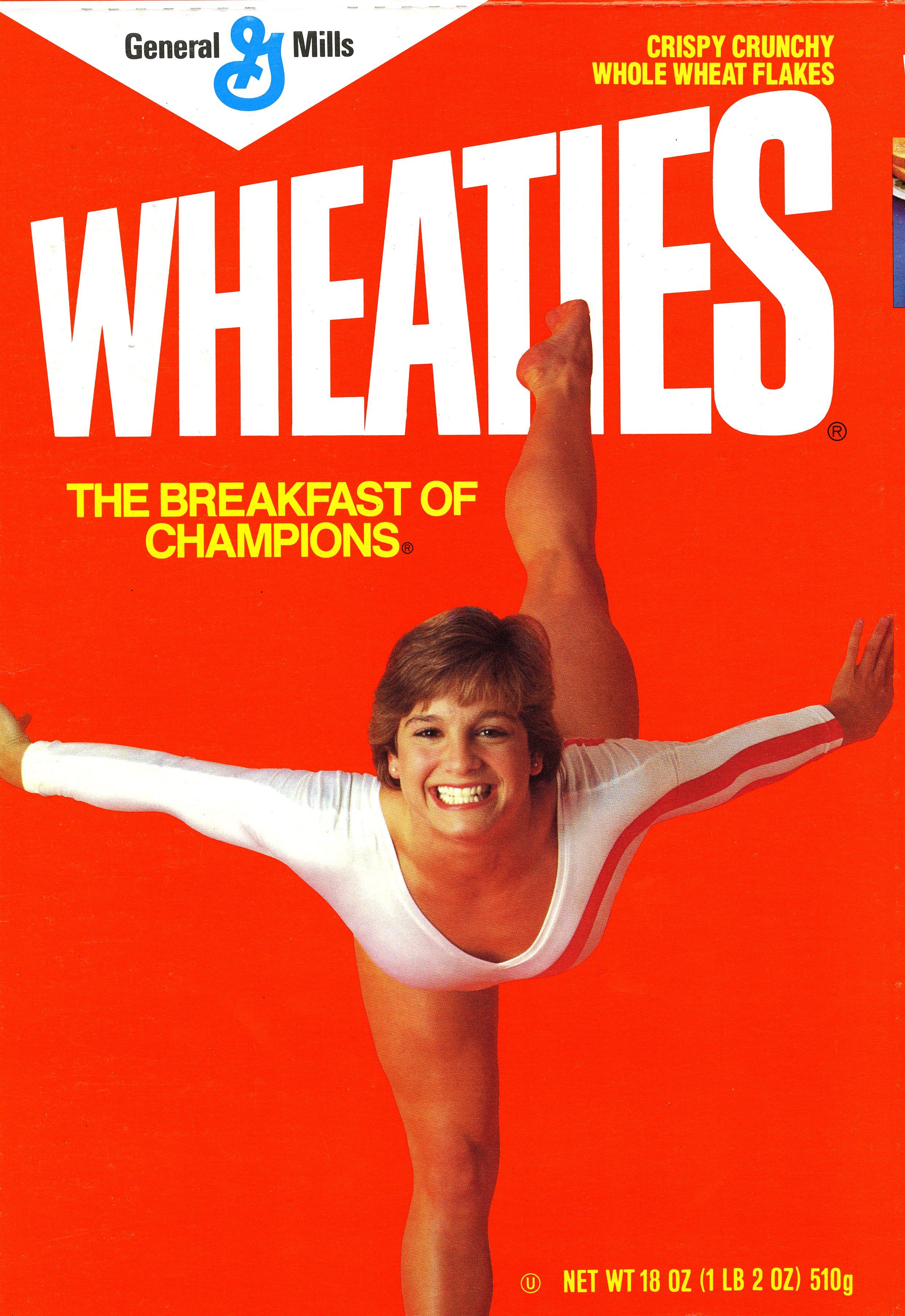 Mary Lou Retton on the Wheaties box.