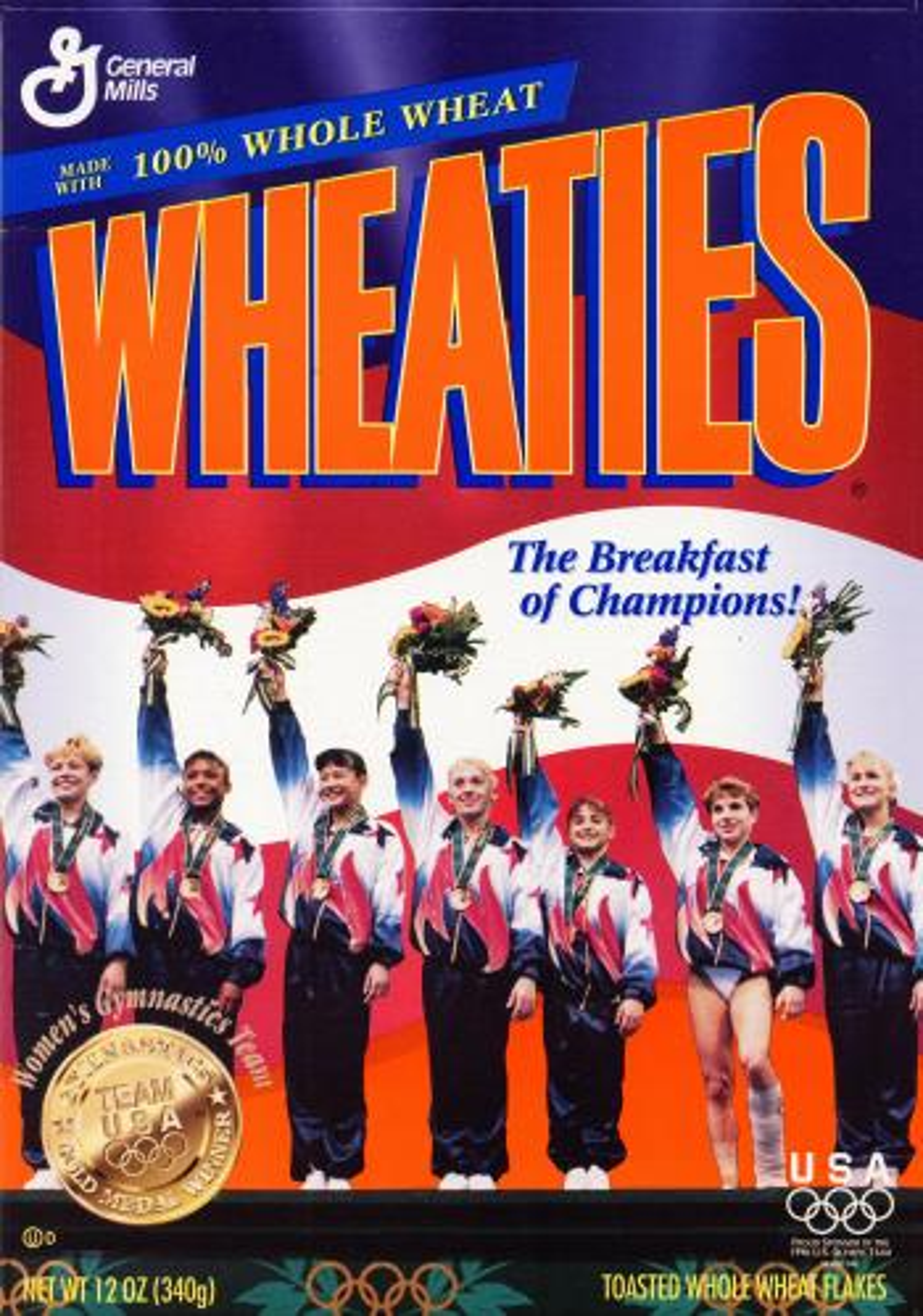 The US Women's Gymnastics team on the Wheaties box.