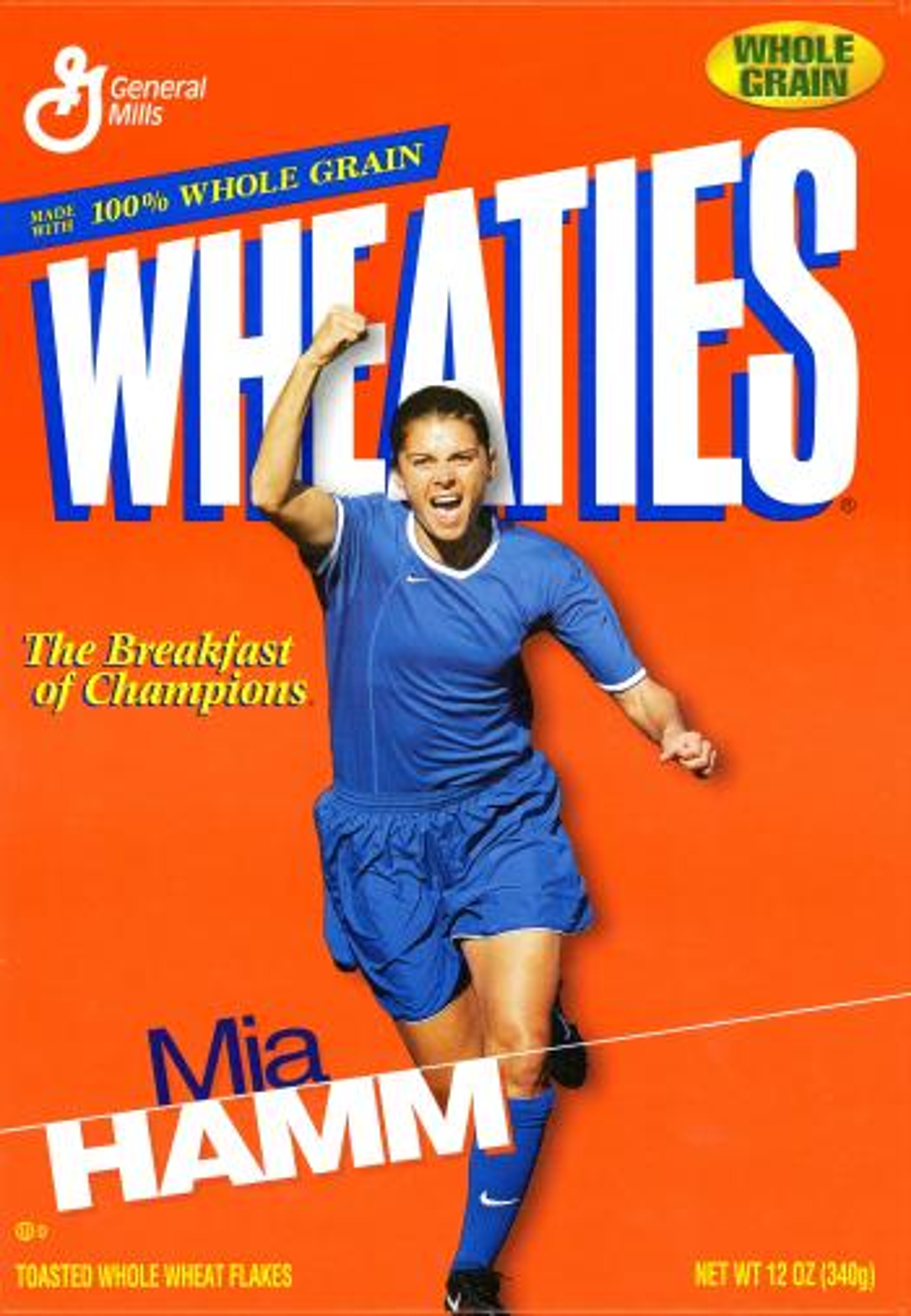 Mia Hamm on the Wheaties box.