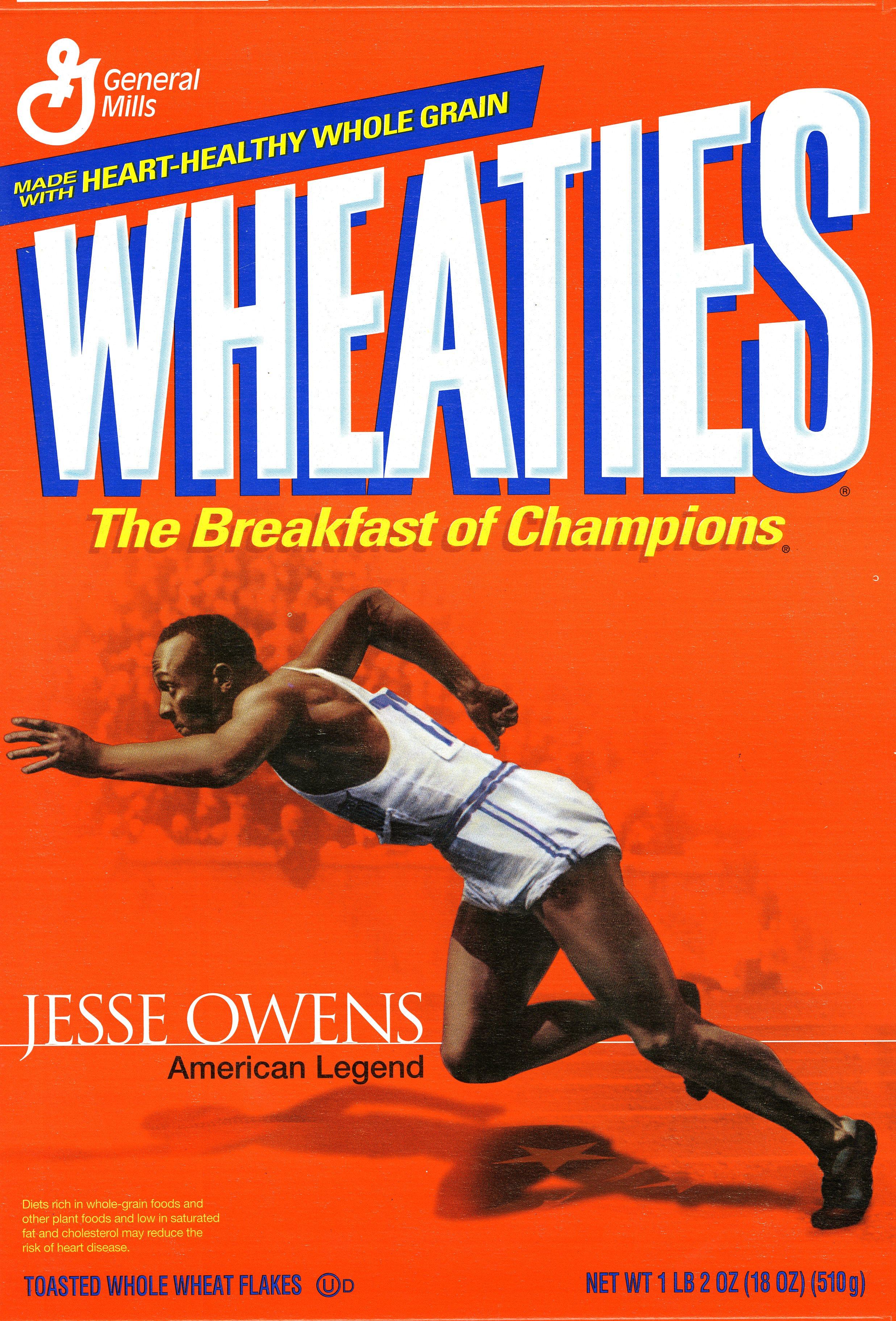 Jesse Owens on the Wheaties box.