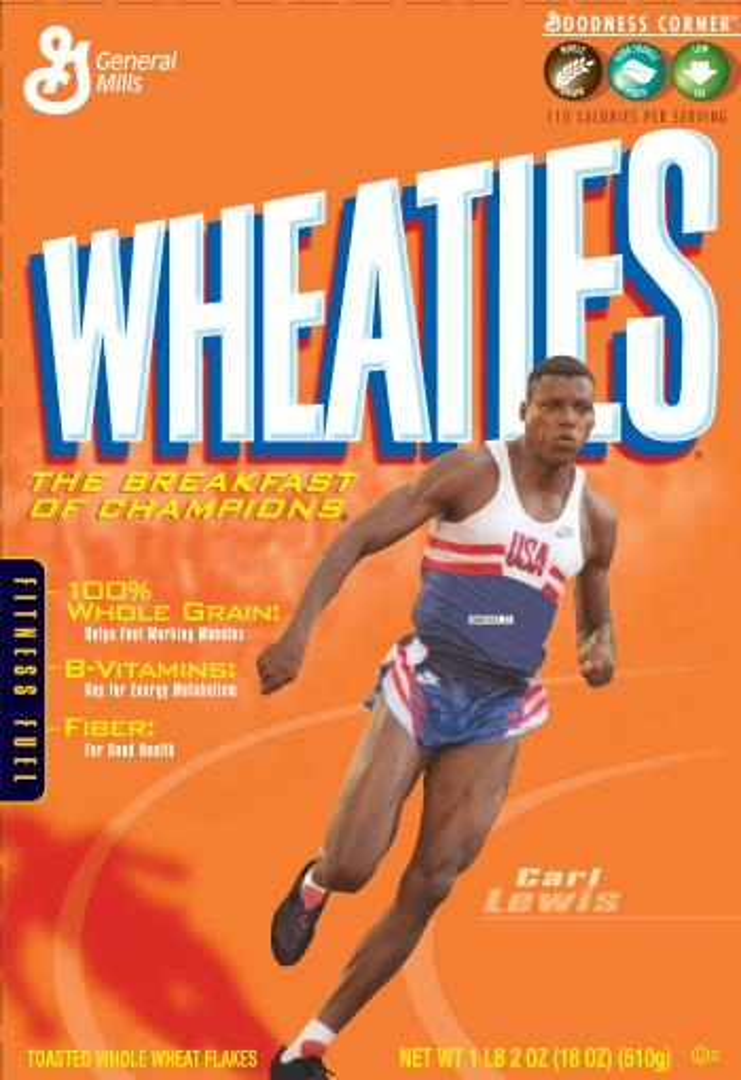 Carl Lewis on the Wheaties box.