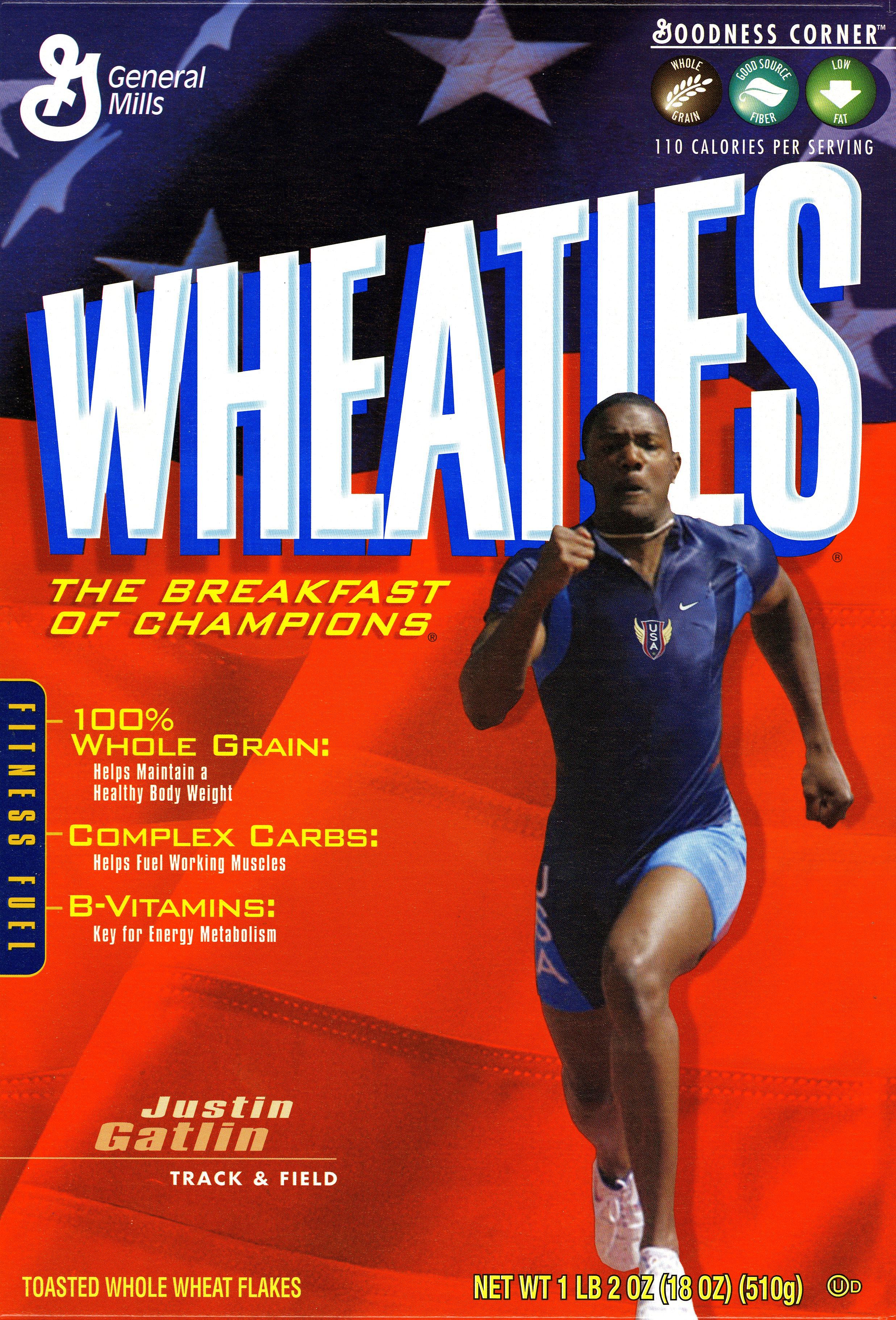 Justin Gatlin on the Wheaties box.