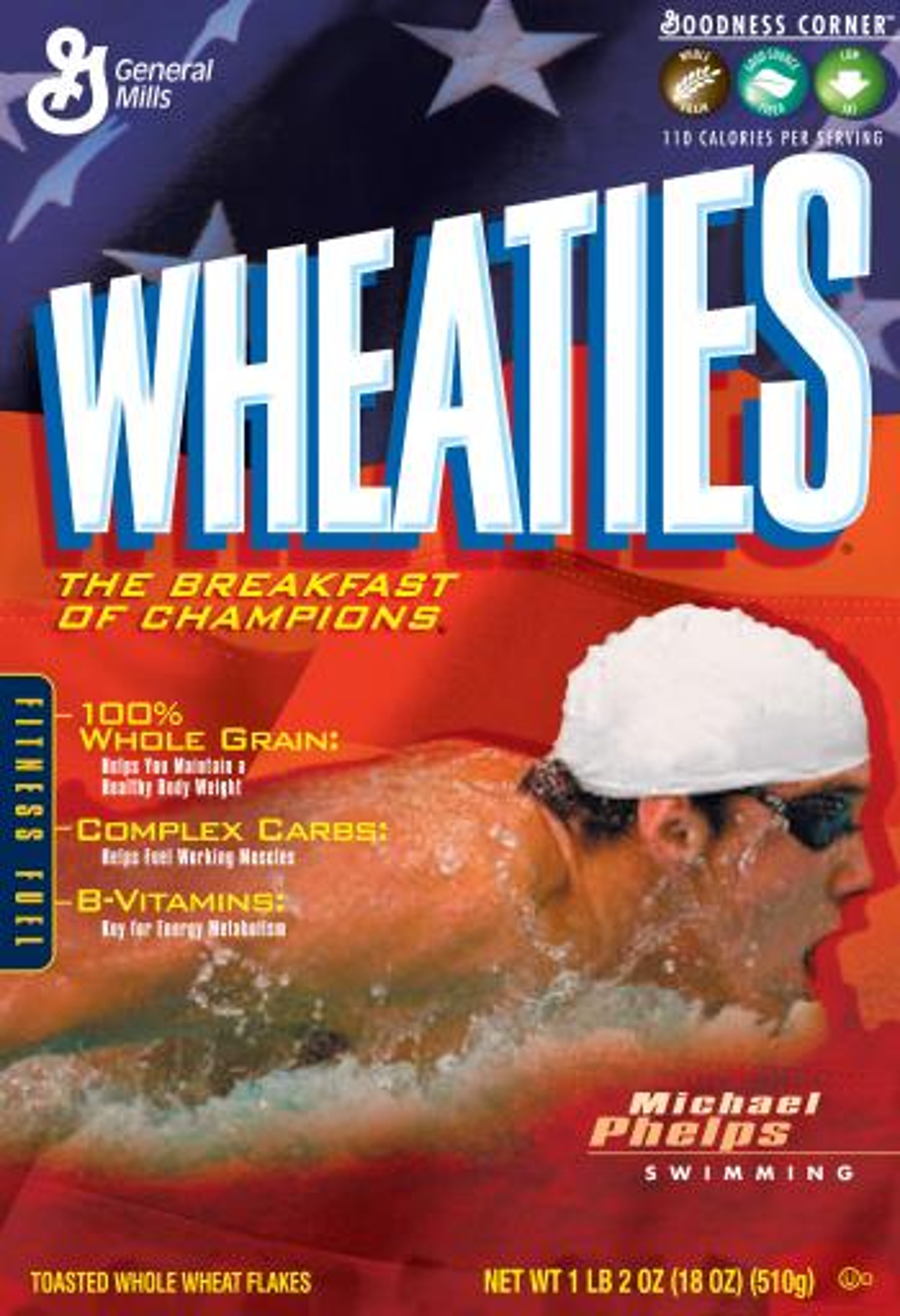 Michael Phelps on the Wheaties box.