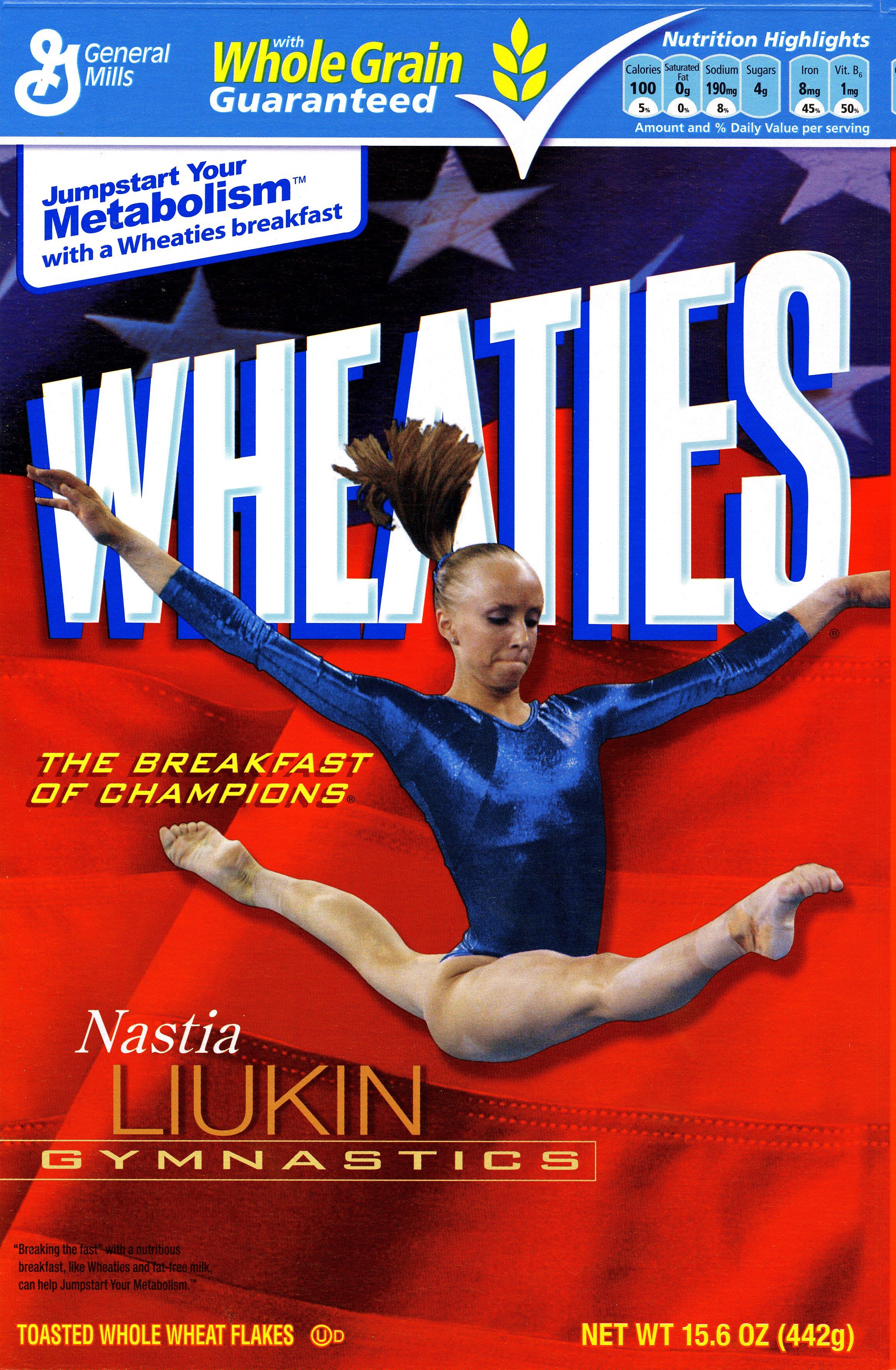 Nastia Liukin on the Wheaties box.