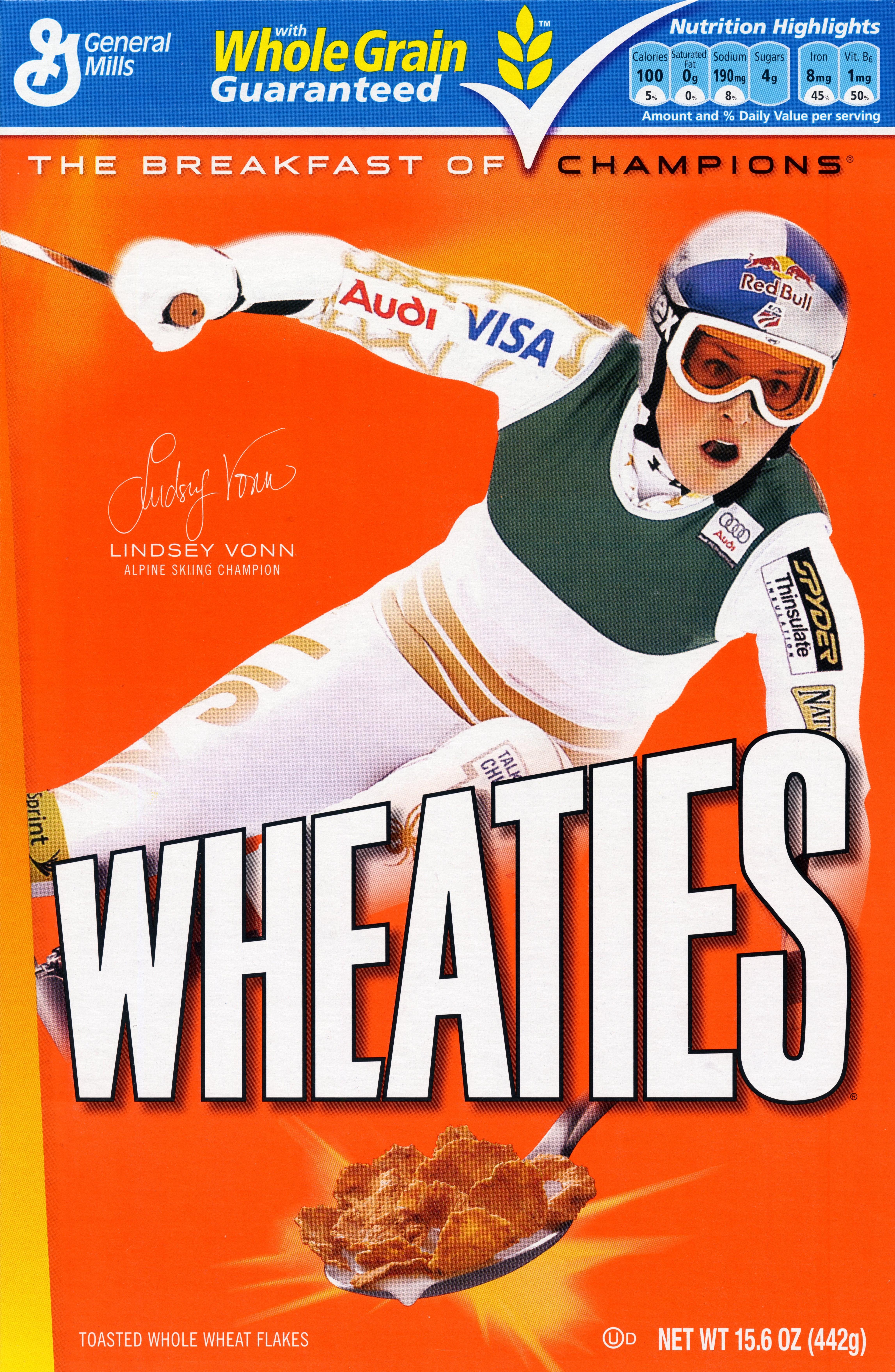 Lindsey Vonn on the Wheaties box.
