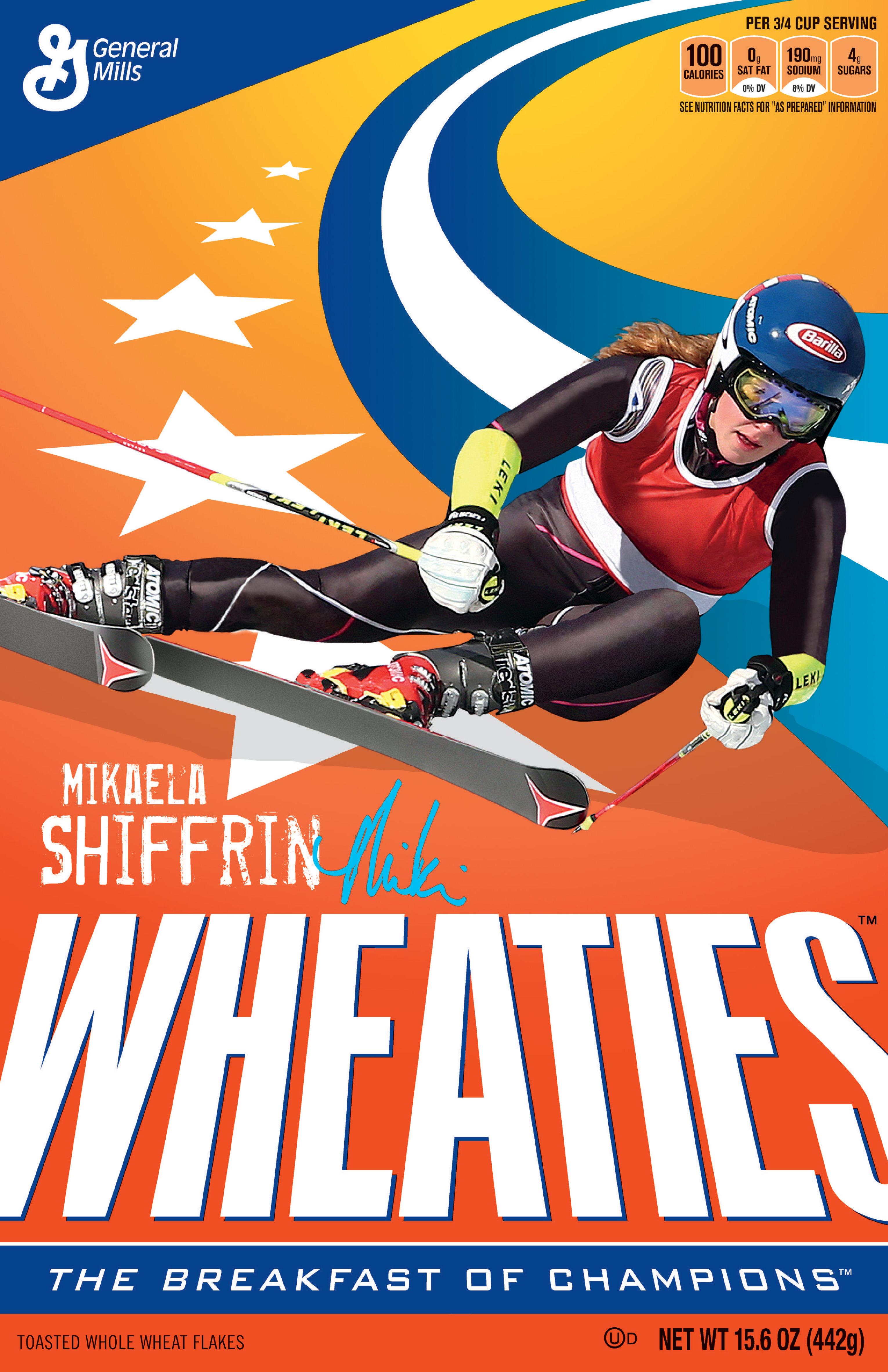 Mikaela Shiffrin on the Wheaties box.