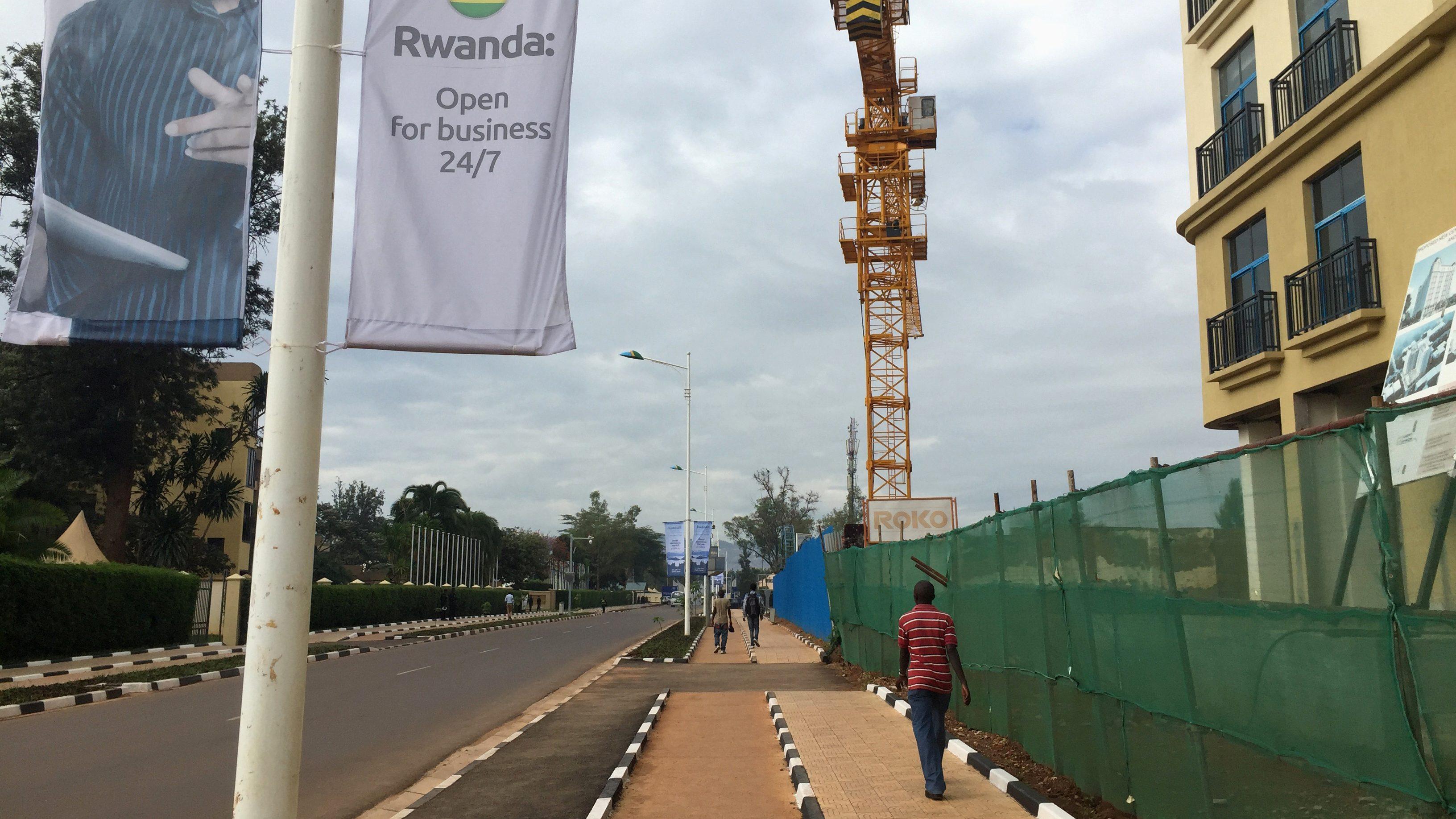 A man walks along a street in Rwanda's capital, Kigali in 2016