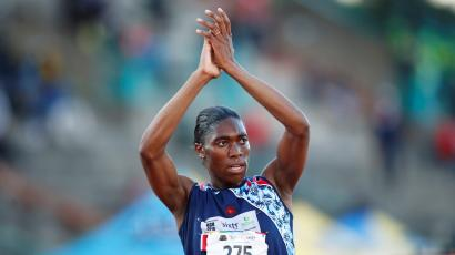 South Africa's double Olympic champion Caster Semenya acknowledges a crowd after winning the 5,000m gold at South African Championships in Germiston