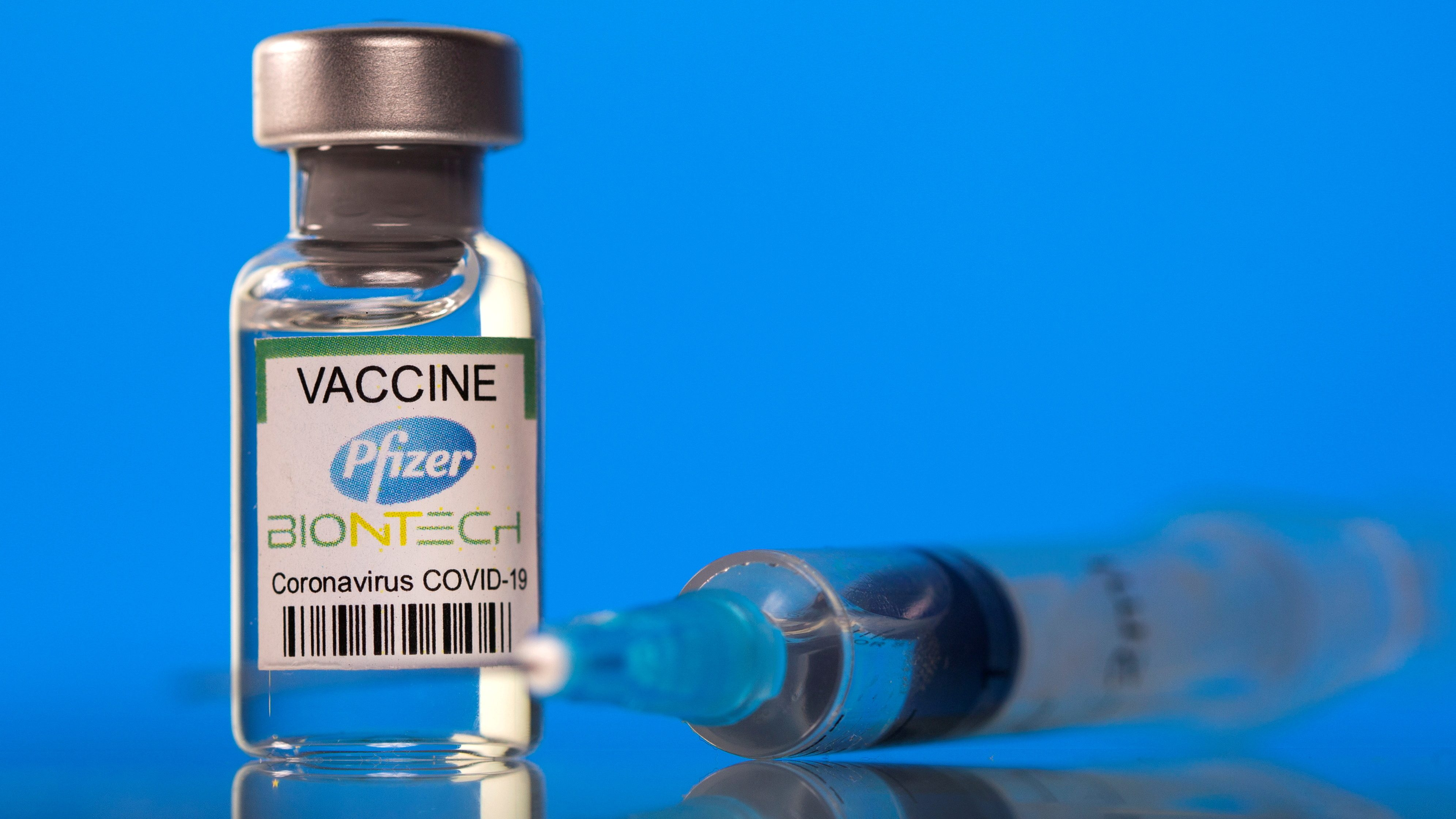 A vial labelled with the Pfizer-BioNTech Covid-19 vaccine.