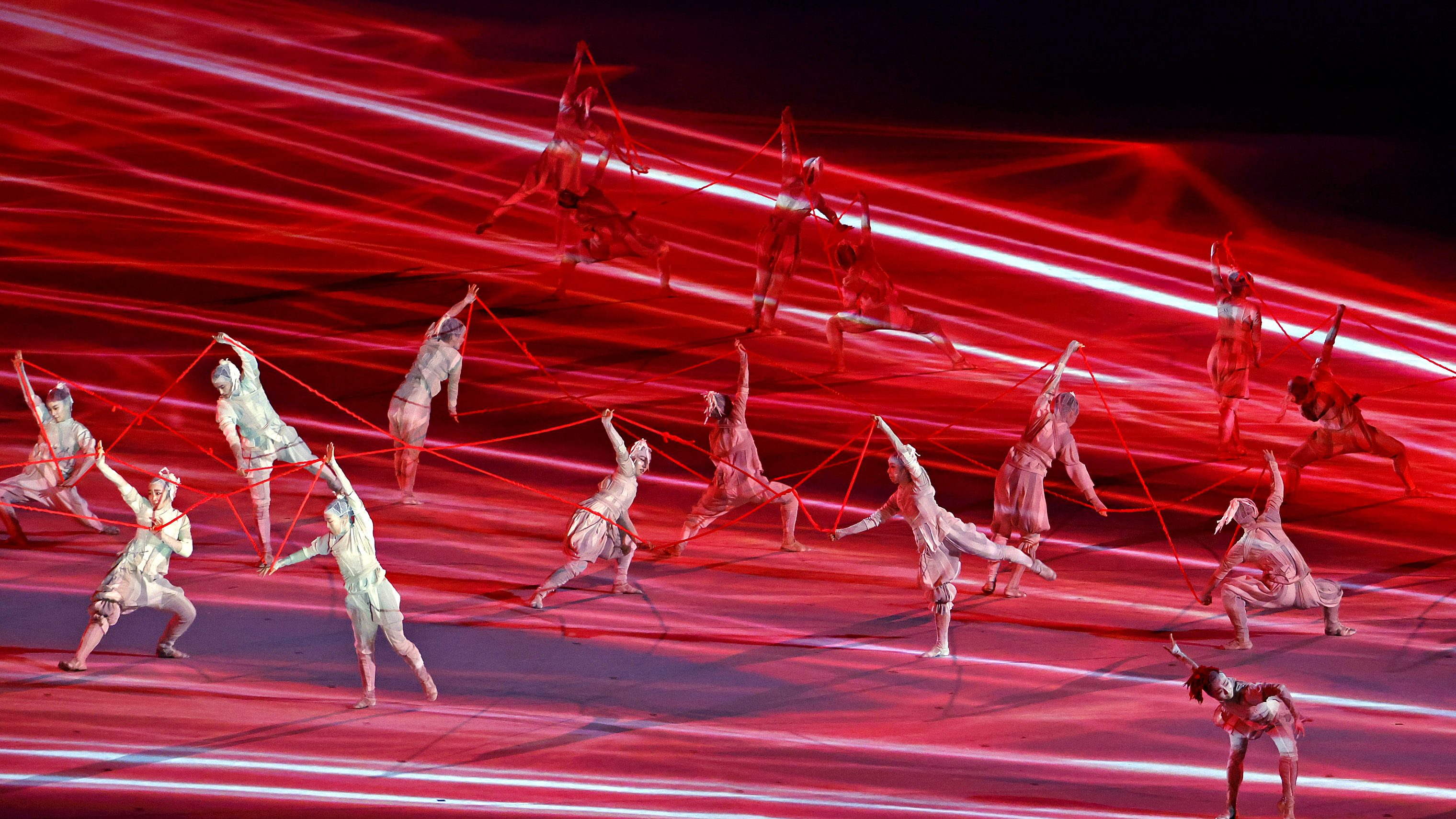 Dancers perform during the opening ceremony for the Tokyo 2020 Olympic Summer Games at Olympic Stadium