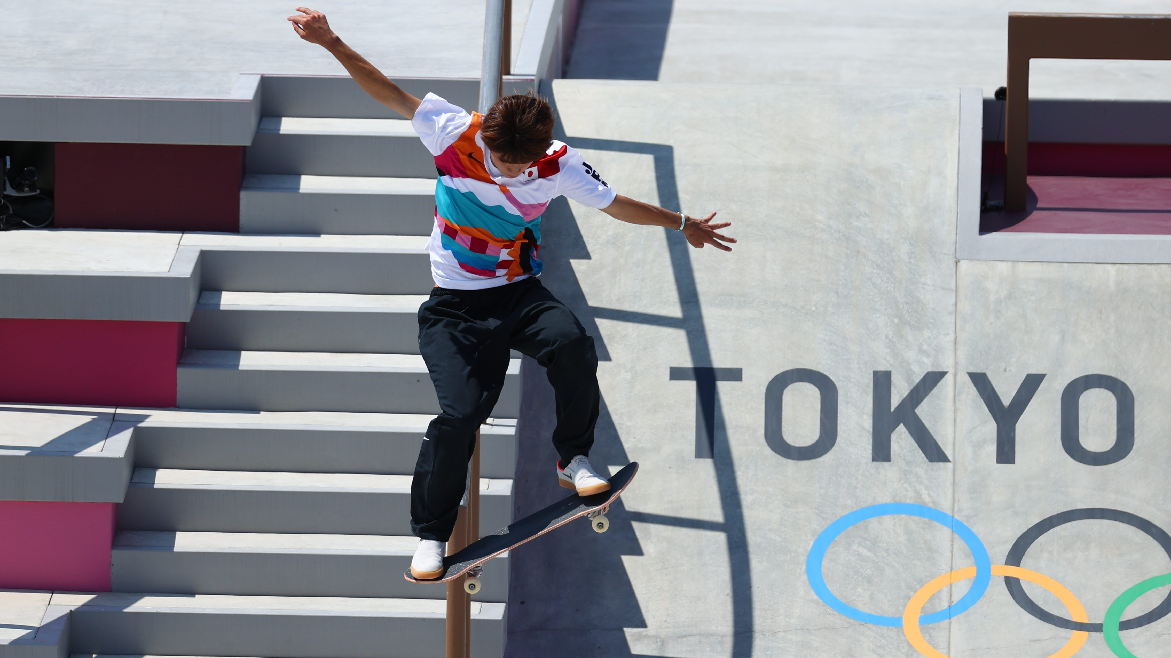 Yuto Horigome of Japan in action on the street skating course at the Olympics