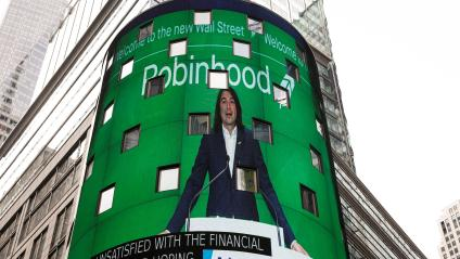 Vlad Tenev, CEO and co-founder Robinhood Markets, Inc., is displayed on a screen during his company's IPO at the Nasdaq Market site in Times Square in New York City, U.S., July 29, 2021.