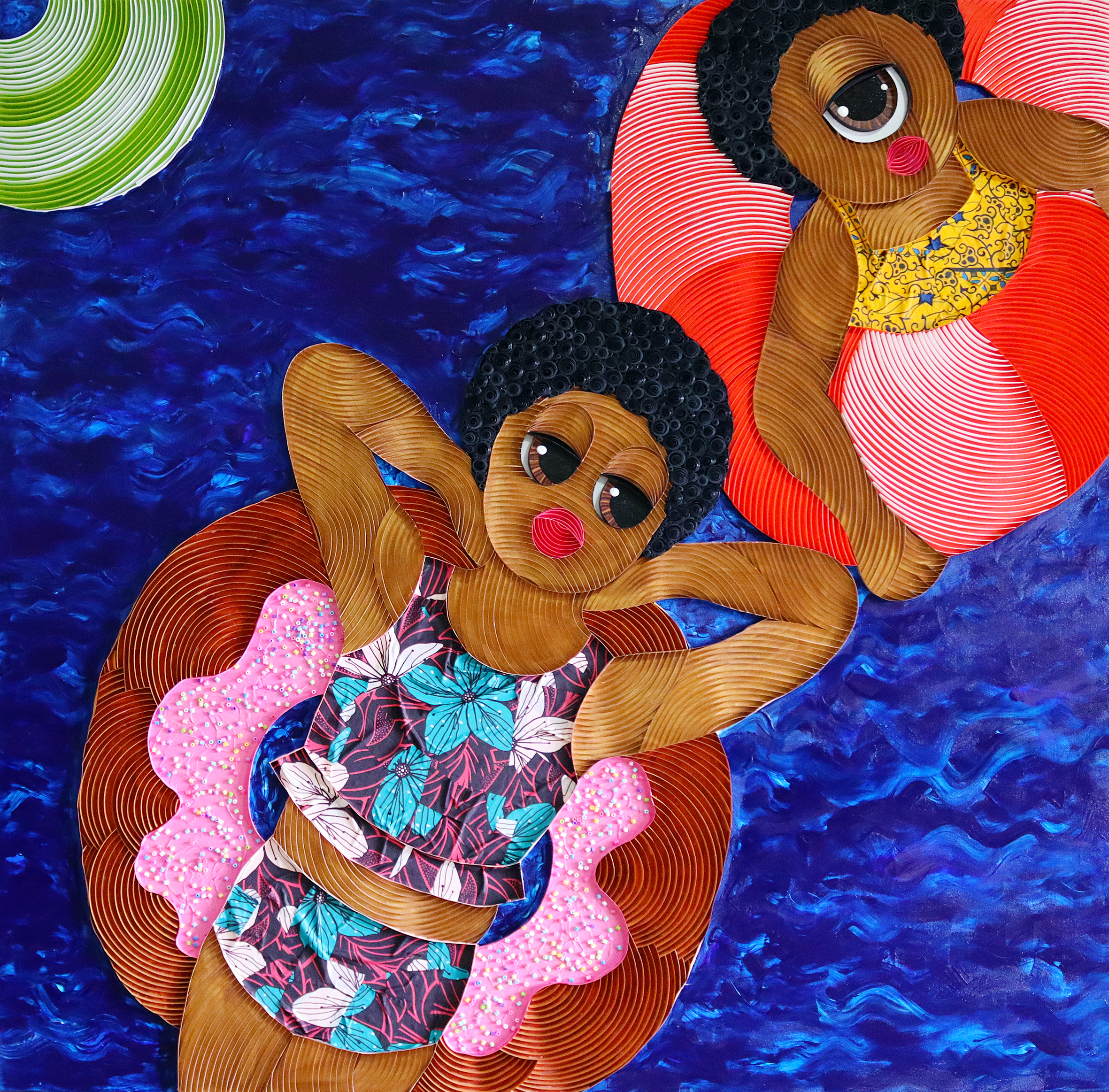 Two women float leisurely in a pool in a colorful mixed media piece by Ayobola Kekere-Ekun.