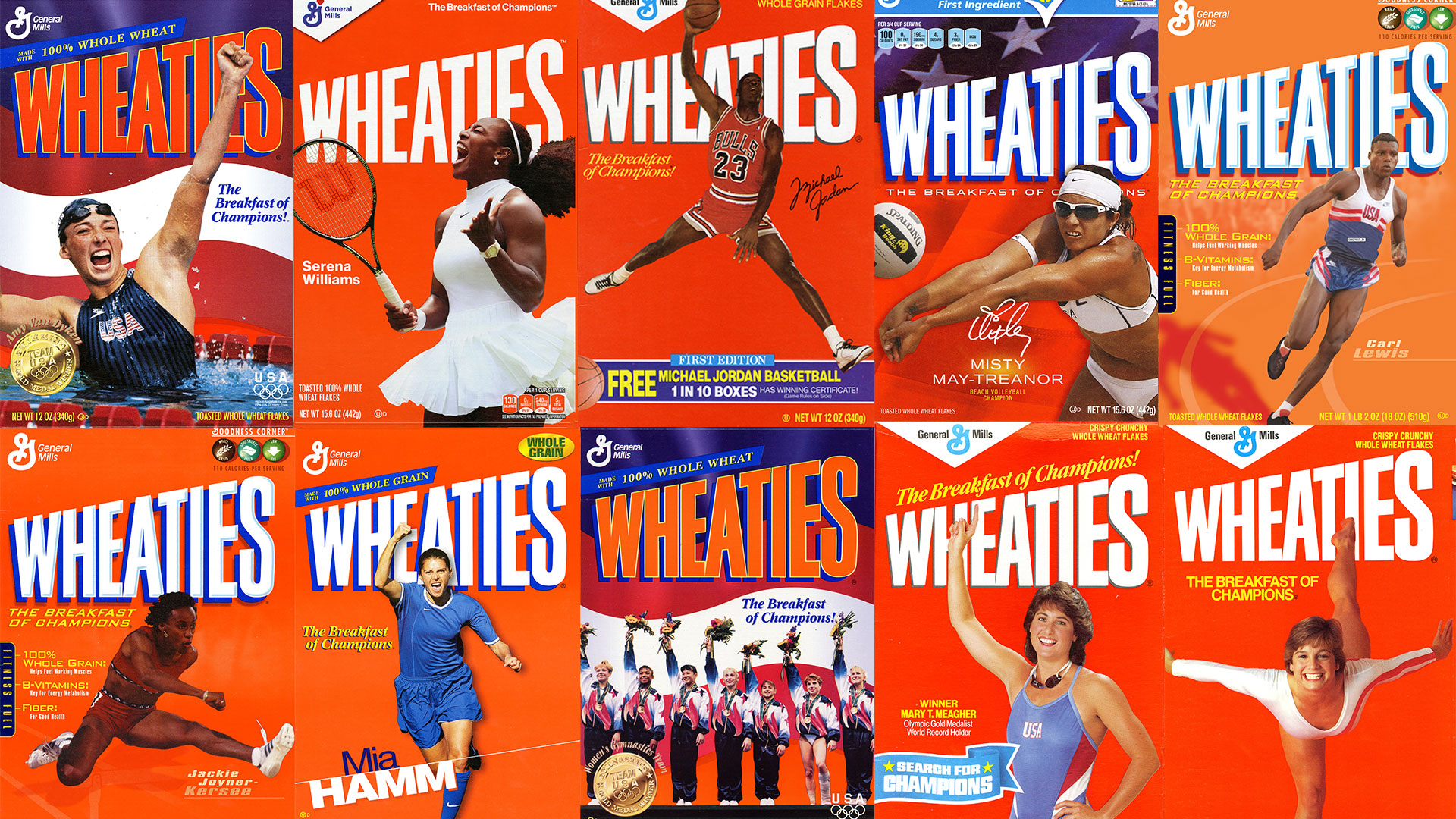 Collage of Wheaties boxes featuring Summer Olympic athletes.