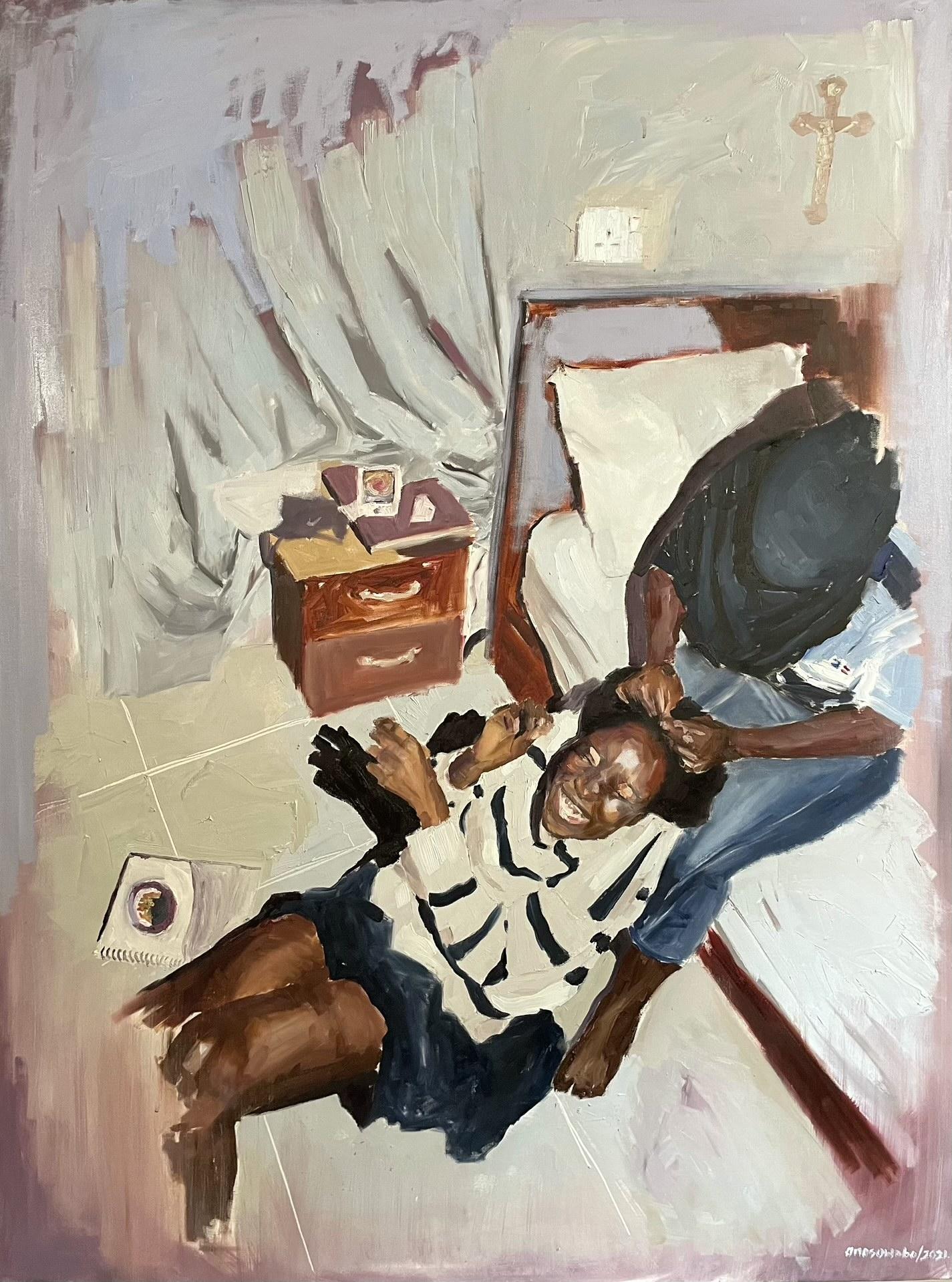 "A girl braids her friend's hair in ""Homegirls I,"" an oil painting by Damilola Marcus."