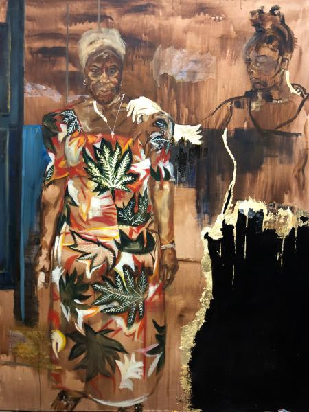 A ghostly self portrait of artist Emma Prempeh rests her hand on the shoulder of a grandmother she never met in this print and imitation gold leaf painting.