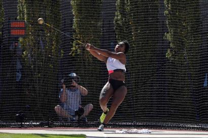 Gwen Berry places third in the women's hammer with a throw of 241-2 (73.50m) during the US Olympic Team Trials at Hayward Field.