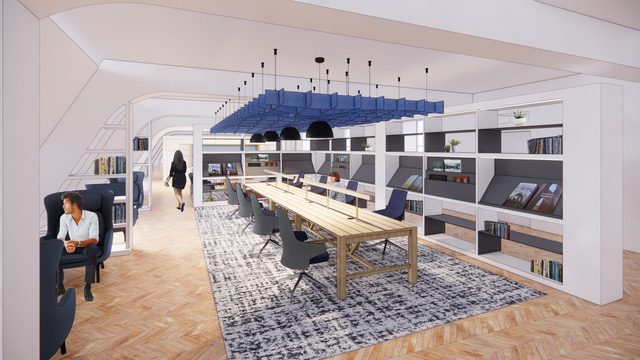 Rendering of the library at a redesigned Cloudflare office