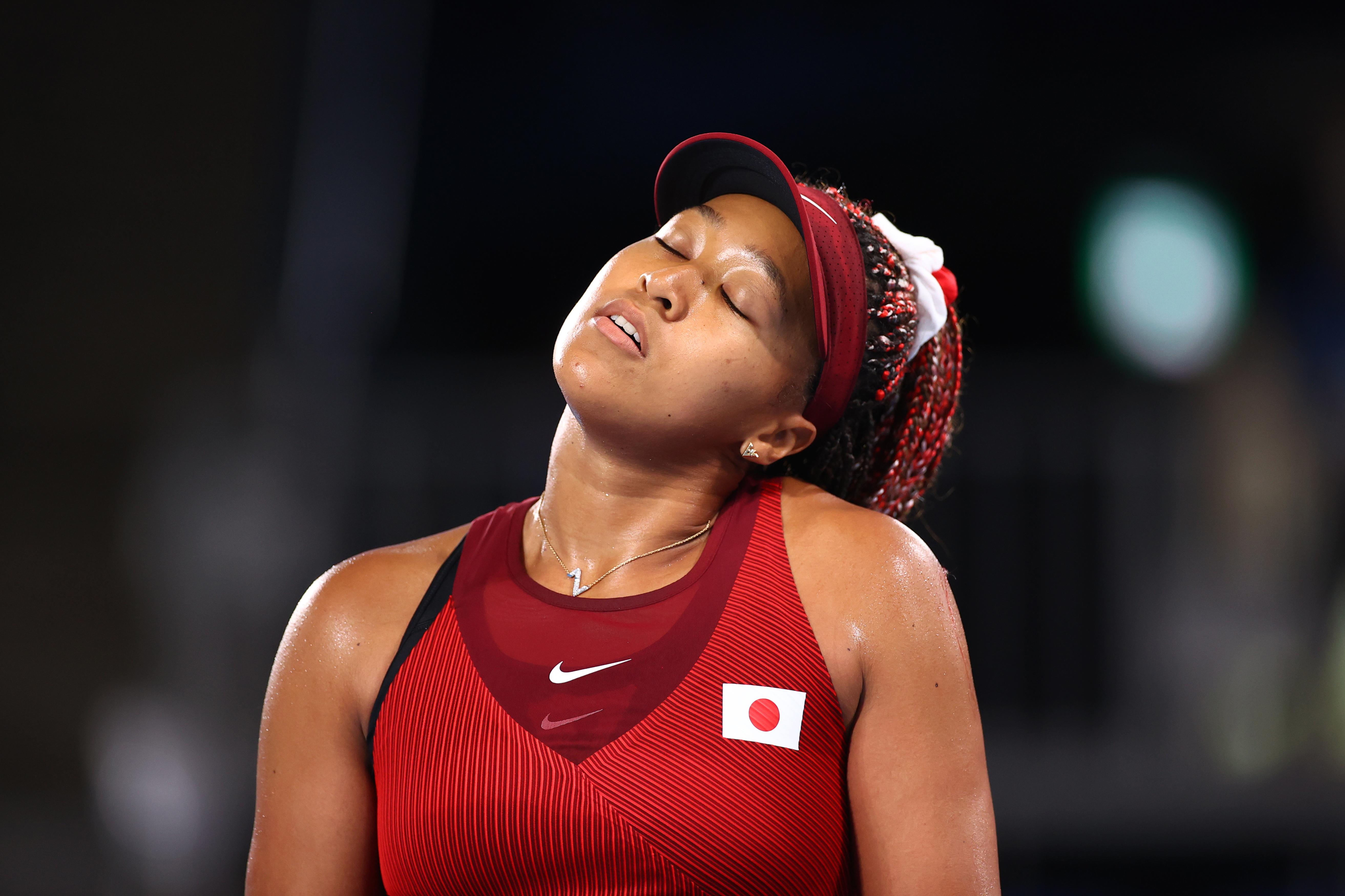Naomi Osaka of Japan reacts during her third round match against Marketa Vondrousova of Czech Republic