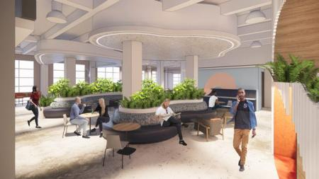 Rendering of a lounge at a Cloudflare office