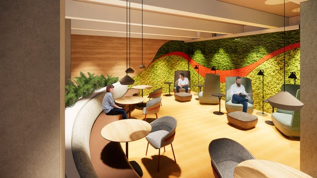 Rendering of a seating area at a Cloudflare office