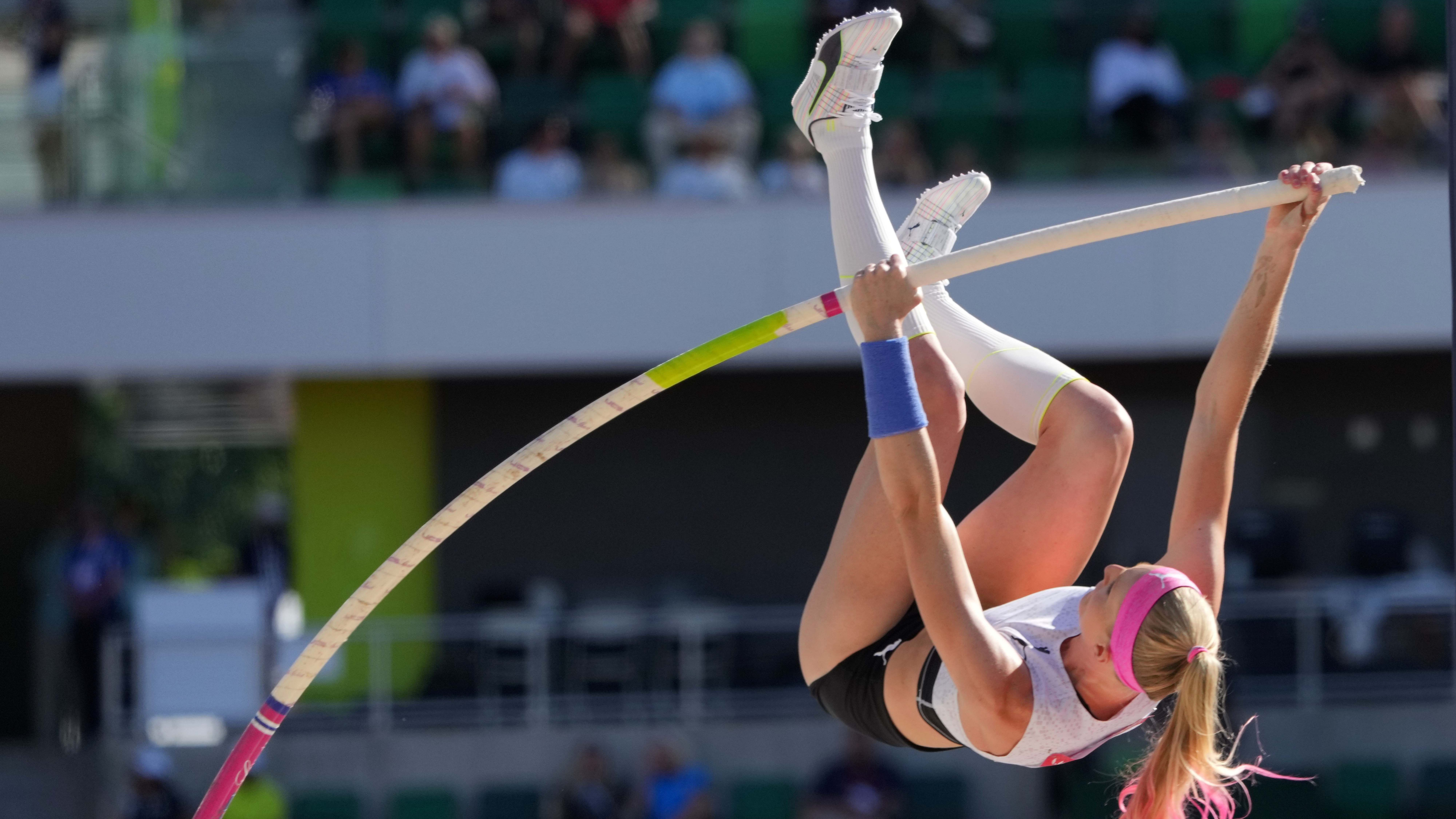 Sandi Morris competes in the women's pole vault qualifying during the US Olympic Team Trials