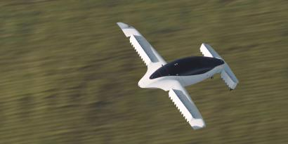A picture from Munich flying taxi startup Lilium shows its five-seater prototype in Munich, Germany,