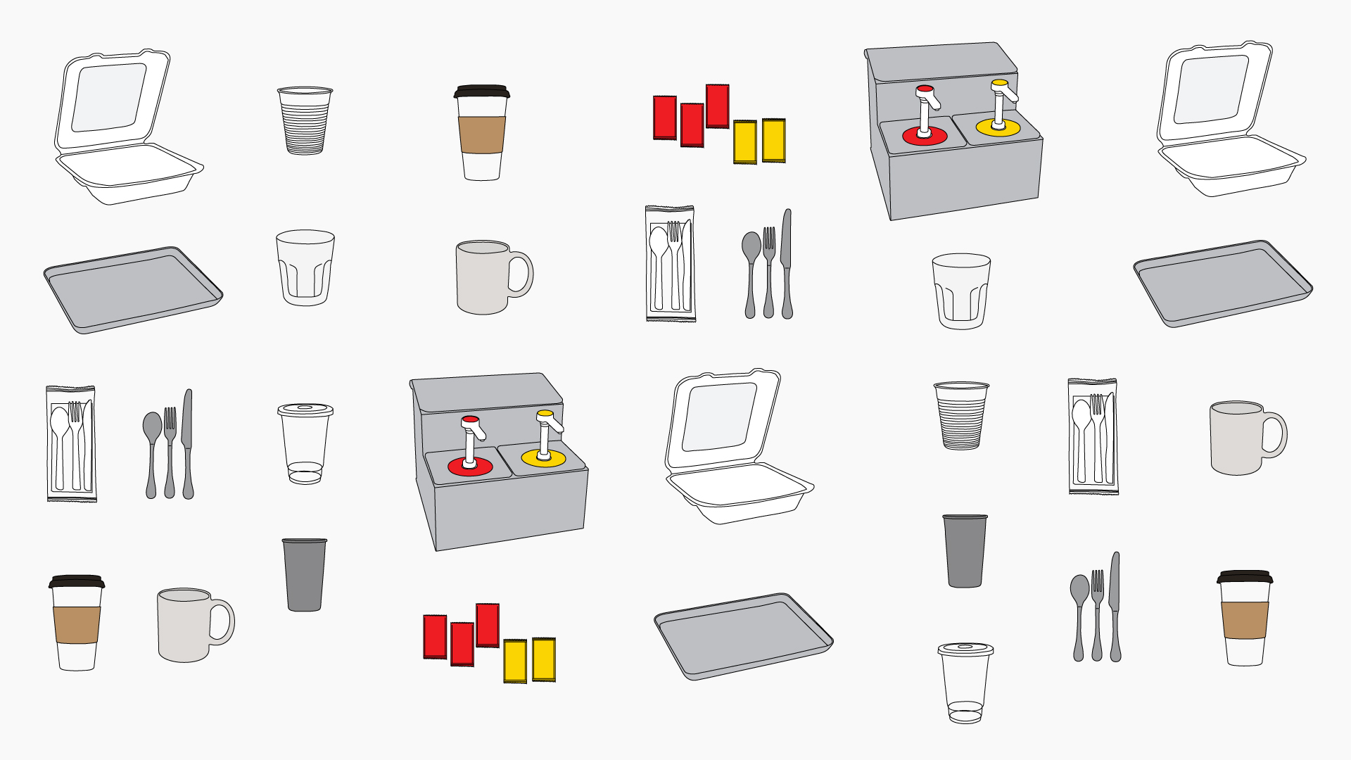 Illustration showing disposable and reusable items. Disposables include coffee cups, condiment packets, plastic utensils, takeout containers, and plastic cups. Reusable items include bulk condiment dispensers, silverware, flatware, mugs, and glasses.