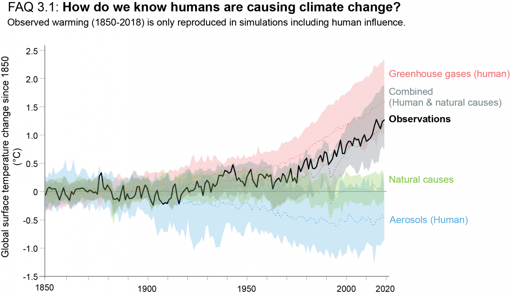 Recent changes in global temperature can be explained only when human activity is taken into account.