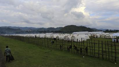 A general view of tents at the Nyakabande refugees transit camp in Uganda.